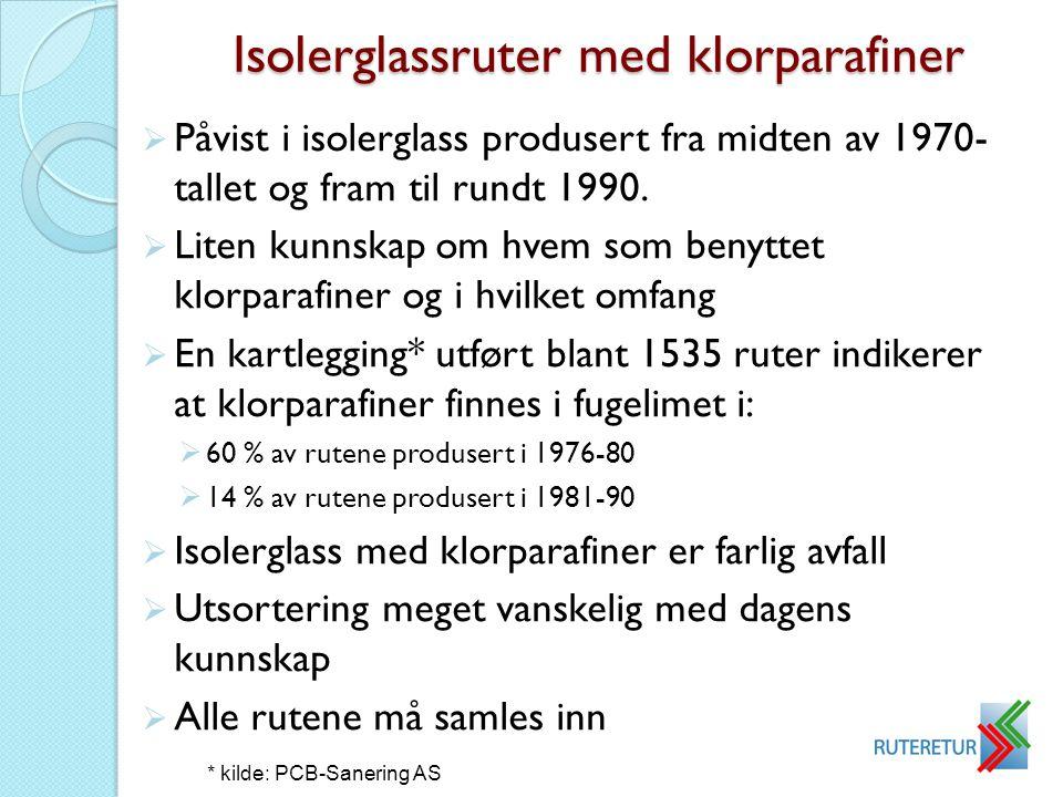 Isolerglassruter med klorparafiner  Påvist i isolerglass produsert fra midten av 1970- tallet og fram til rundt 1990.  Liten kunnskap om hvem som be