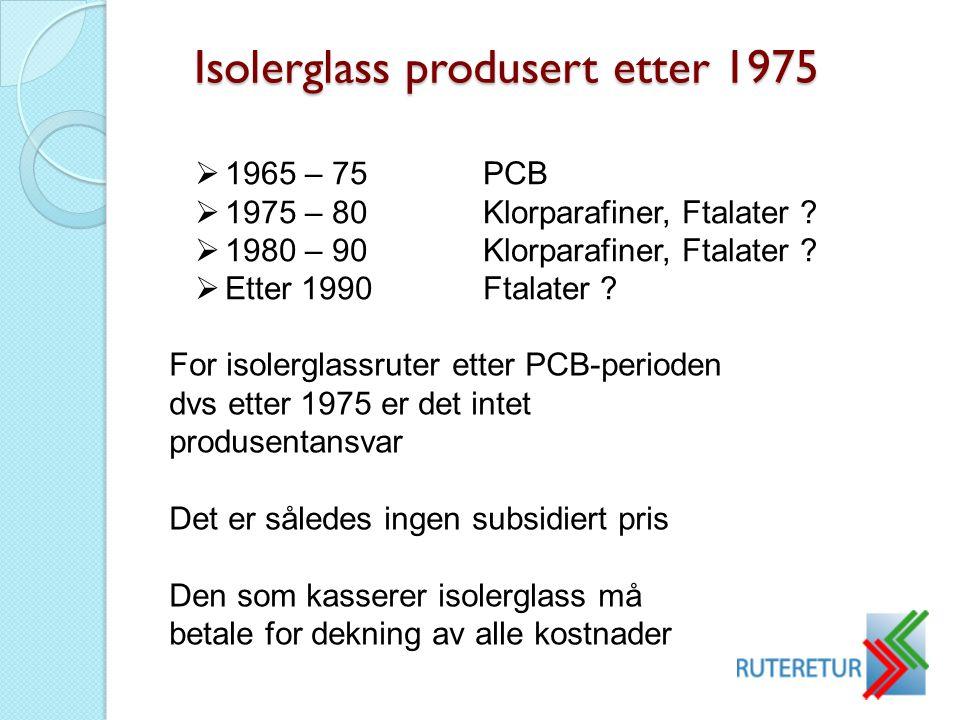 Isolerglass produsert etter 1975  1965 – 75PCB  1975 – 80Klorparafiner, Ftalater ?  1980 – 90Klorparafiner, Ftalater ?  Etter 1990Ftalater ? For i