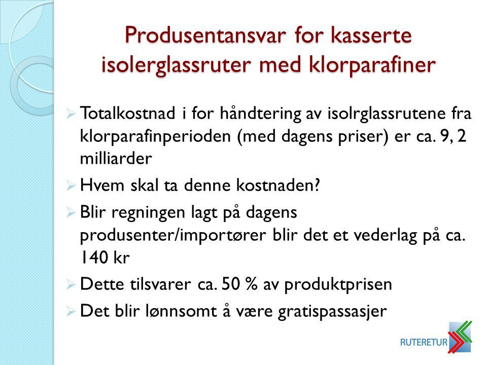 Produsentansvar for kasserte isolerglassruter med klorparafiner  Totalkostnad i for håndtering av isolrglassrutene fra klorparafinperioden (med dagen