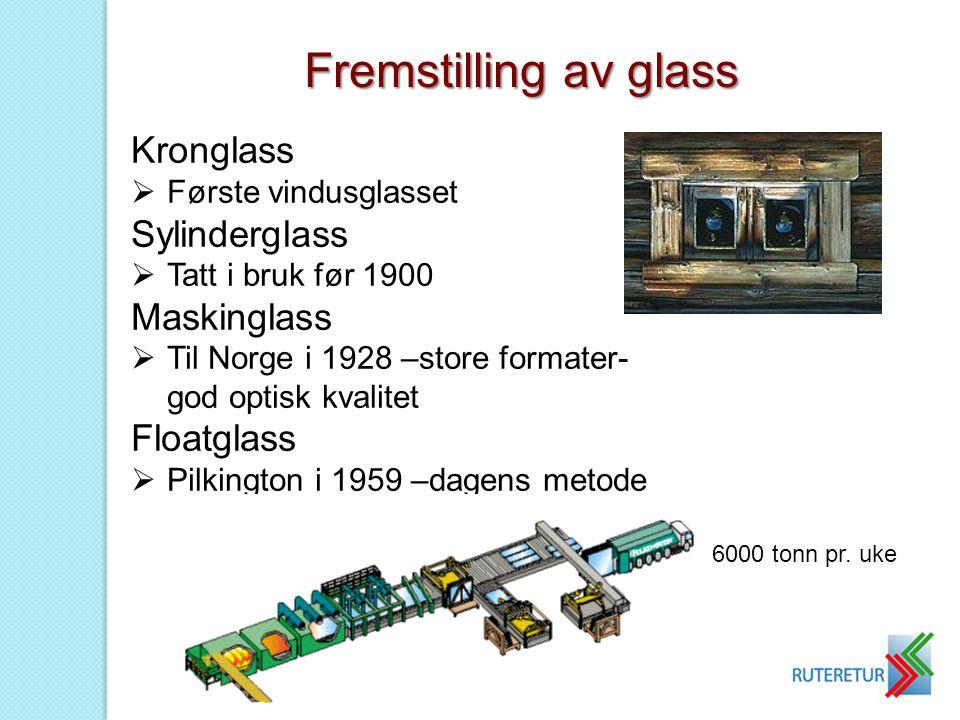Kronglass  Første vindusglasset Sylinderglass  Tatt i bruk før 1900 Maskinglass  Til Norge i 1928 –store formater- god optisk kvalitet Floatglass 