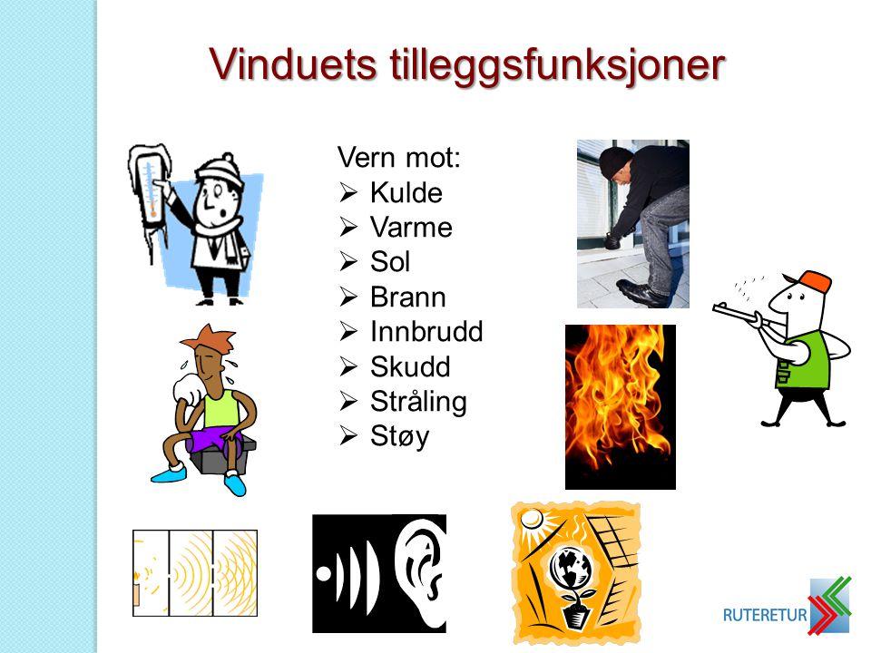 Vinduets tilleggsfunksjoner Vern mot:  Kulde  Varme  Sol  Brann  Innbrudd  Skudd  Stråling  Støy