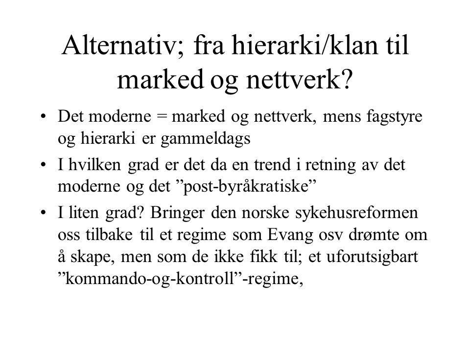 Alternativ; fra hierarki/klan til marked og nettverk.