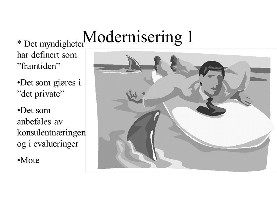 Modernisering 1 * Det myndigheter har definert som framtiden •Det som gjøres i det private •Det som anbefales av konsulentnæringen og i evalueringer •Mote