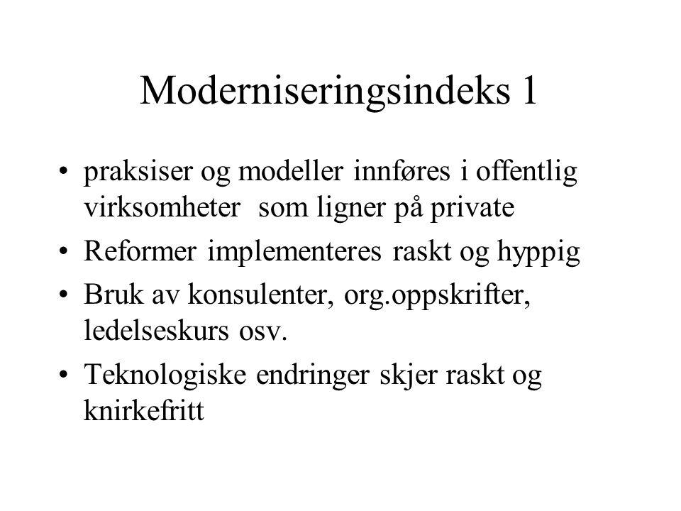 Moderniseringsindeks 1 •praksiser og modeller innføres i offentlig virksomheter som ligner på private •Reformer implementeres raskt og hyppig •Bruk av konsulenter, org.oppskrifter, ledelseskurs osv.