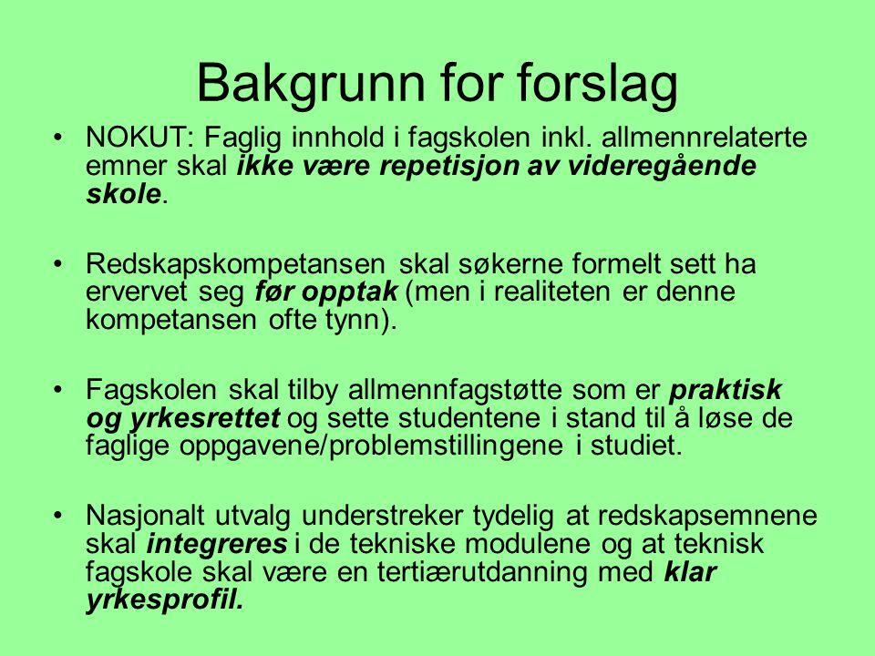 Bakgrunn for forslag •NOKUT: Faglig innhold i fagskolen inkl.
