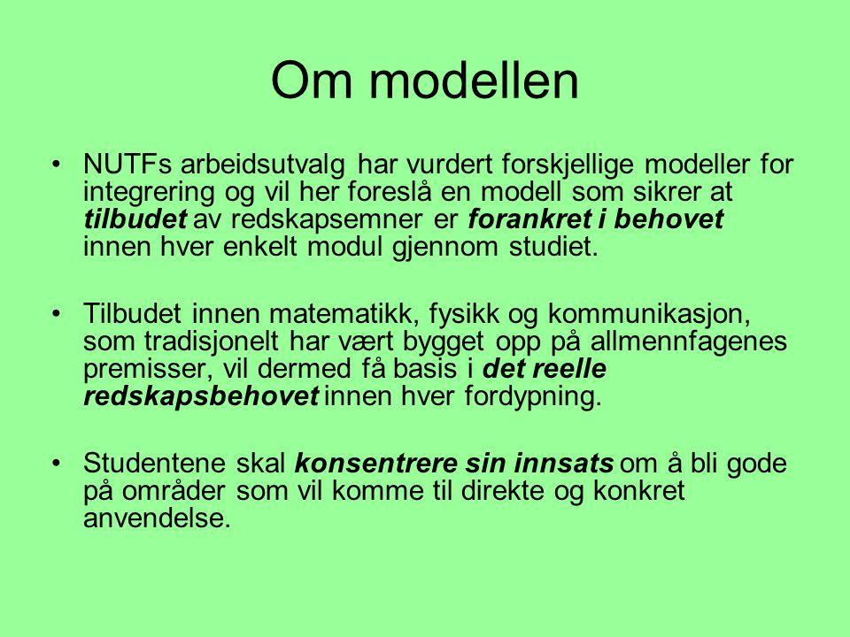 Om modellen •NUTFs arbeidsutvalg har vurdert forskjellige modeller for integrering og vil her foreslå en modell som sikrer at tilbudet av redskapsemner er forankret i behovet innen hver enkelt modul gjennom studiet.
