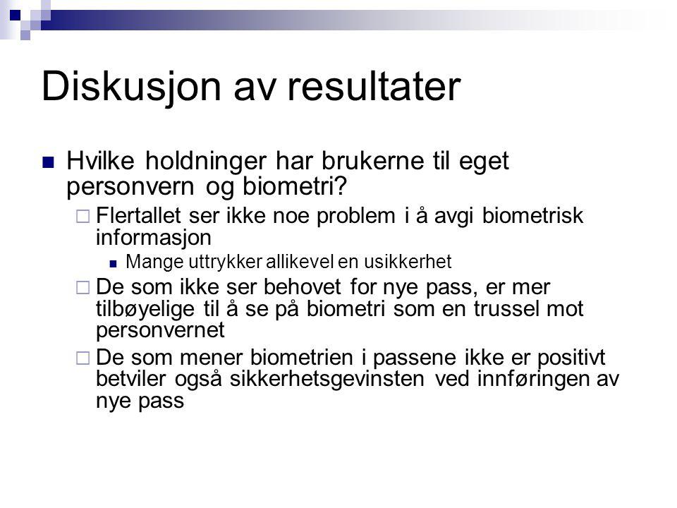 Diskusjon av resultater  Hvilke holdninger har brukerne til eget personvern og biometri.