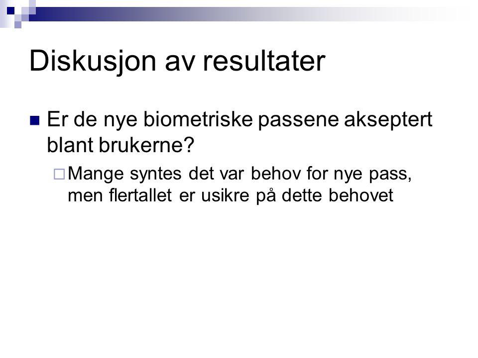 Diskusjon av resultater  Er de nye biometriske passene akseptert blant brukerne.