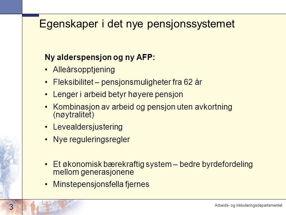 3 Arbeids- og inkluderingsdepartementet Egenskaper i det nye pensjonssystemet Ny alderspensjon og ny AFP: •Alleårsopptjening •Fleksibilitet – pensjons