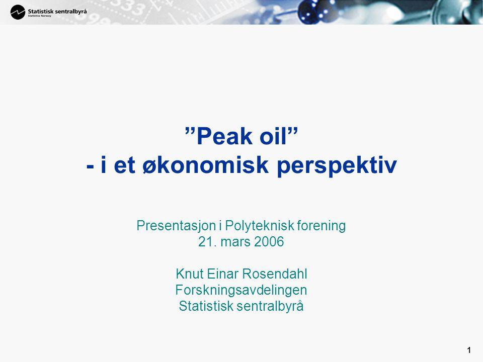 1 Peak oil - i et økonomisk perspektiv Presentasjon i Polyteknisk forening 21.