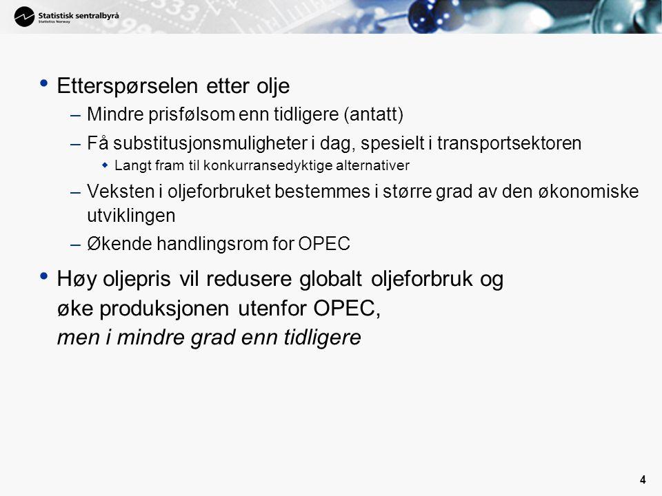 4 • Etterspørselen etter olje –Mindre prisfølsom enn tidligere (antatt) –Få substitusjonsmuligheter i dag, spesielt i transportsektoren  Langt fram til konkurransedyktige alternativer –Veksten i oljeforbruket bestemmes i større grad av den økonomiske utviklingen –Økende handlingsrom for OPEC • Høy oljepris vil redusere globalt oljeforbruk og øke produksjonen utenfor OPEC, men i mindre grad enn tidligere