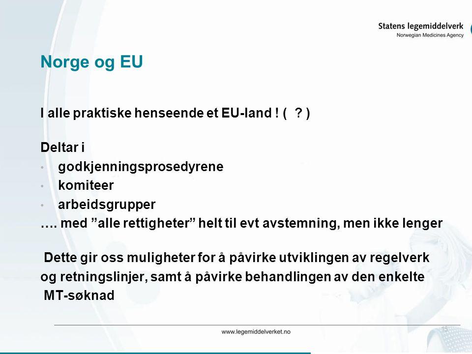 """15 Norge og EU I alle praktiske henseende et EU-land ! ( ? ) Deltar i • godkjenningsprosedyrene • komiteer • arbeidsgrupper …. med """"alle rettigheter"""""""