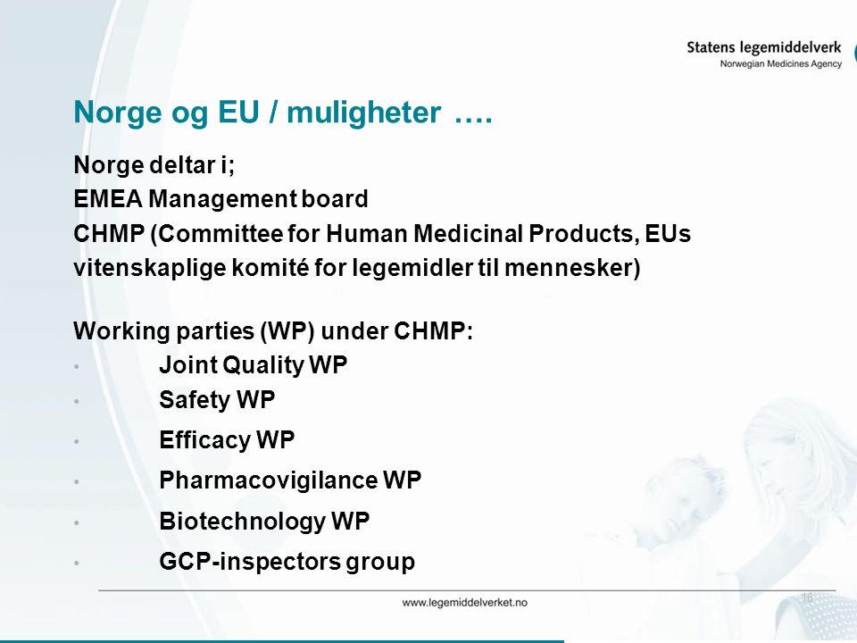 16 Norge og EU / muligheter …. Norge deltar i; EMEA Management board CHMP (Committee for Human Medicinal Products, EUs vitenskaplige komité for legemi