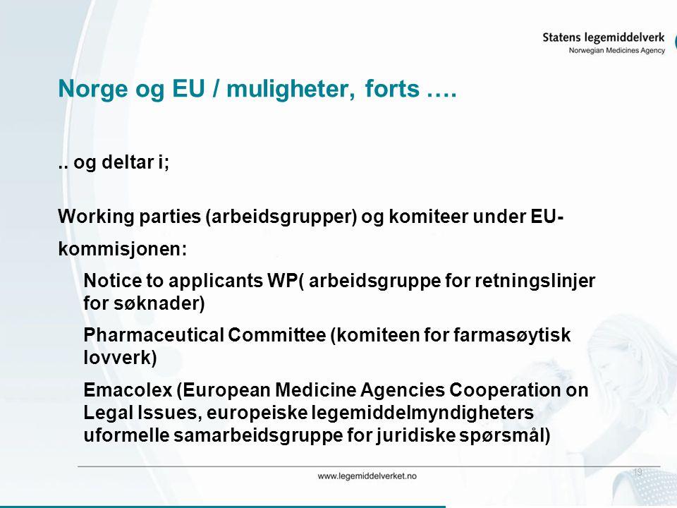 19 Norge og EU / muligheter, forts …... og deltar i; Working parties (arbeidsgrupper) og komiteer under EU- kommisjonen: Notice to applicants WP( arbe