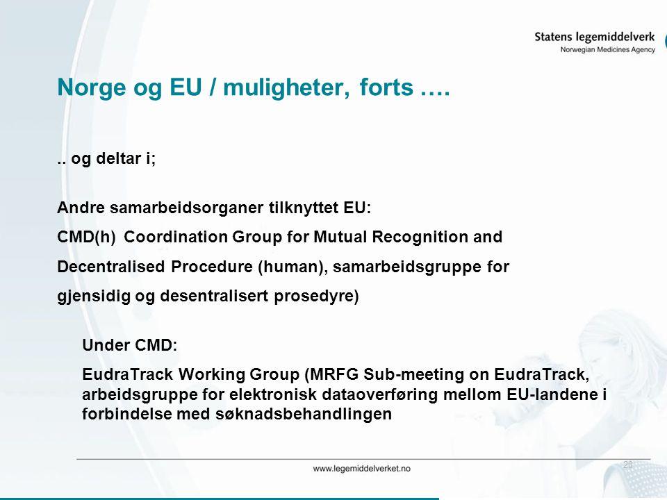 20 Norge og EU / muligheter, forts …... og deltar i; Andre samarbeidsorganer tilknyttet EU: CMD(h)Coordination Group for Mutual Recognition and Decent