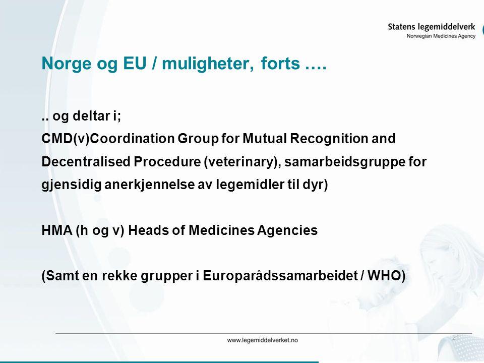 21 Norge og EU / muligheter, forts …... og deltar i; CMD(v)Coordination Group for Mutual Recognition and Decentralised Procedure (veterinary), samarbe