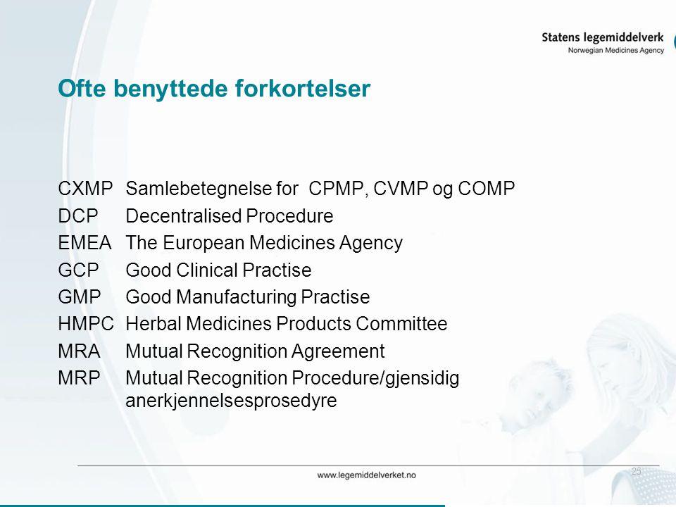 25 Ofte benyttede forkortelser CXMPSamlebetegnelse for CPMP, CVMP og COMP DCPDecentralised Procedure EMEAThe European Medicines Agency GCPGood Clinica