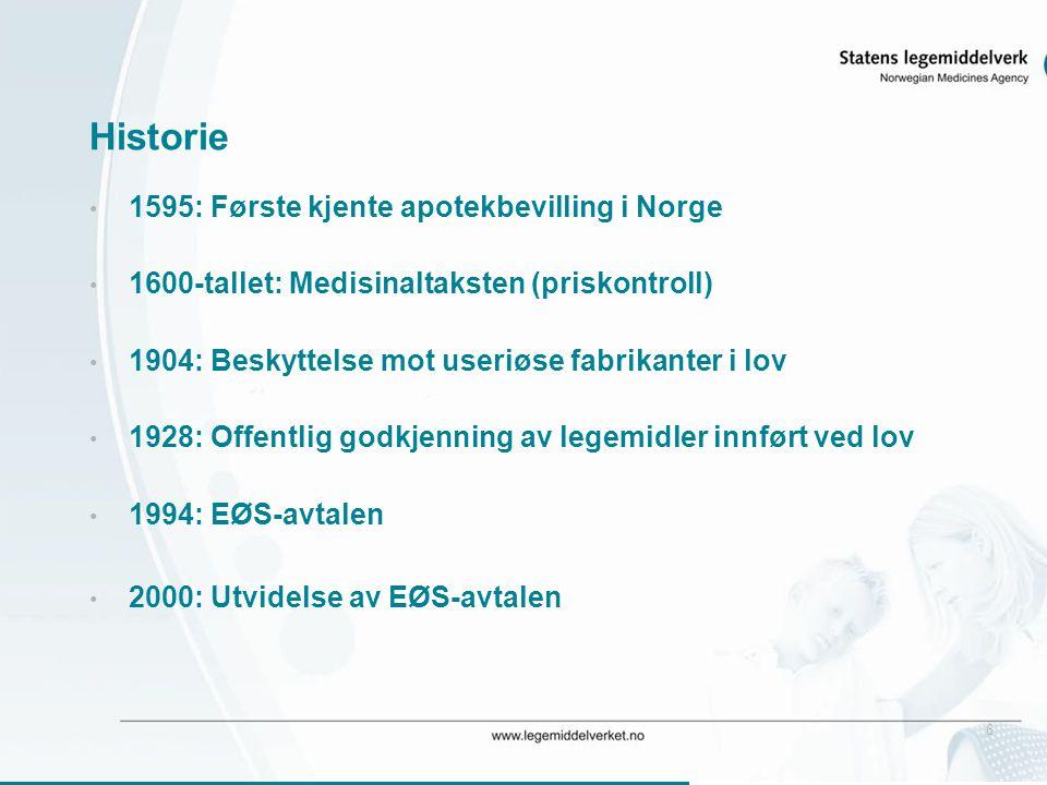 6 Historie • 1595: Første kjente apotekbevilling i Norge • 1600-tallet: Medisinaltaksten (priskontroll) • 1904: Beskyttelse mot useriøse fabrikanter i lov • 1928: Offentlig godkjenning av legemidler innført ved lov • 1994: EØS-avtalen • 2000: Utvidelse av EØS-avtalen