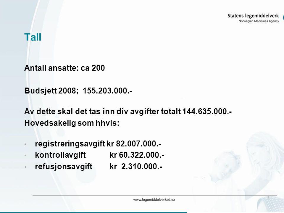 7 Tall Antall ansatte: ca 200 Budsjett 2008; 155.203.000.- Av dette skal det tas inn div avgifter totalt 144.635.000.- Hovedsakelig som hhvis: • regis
