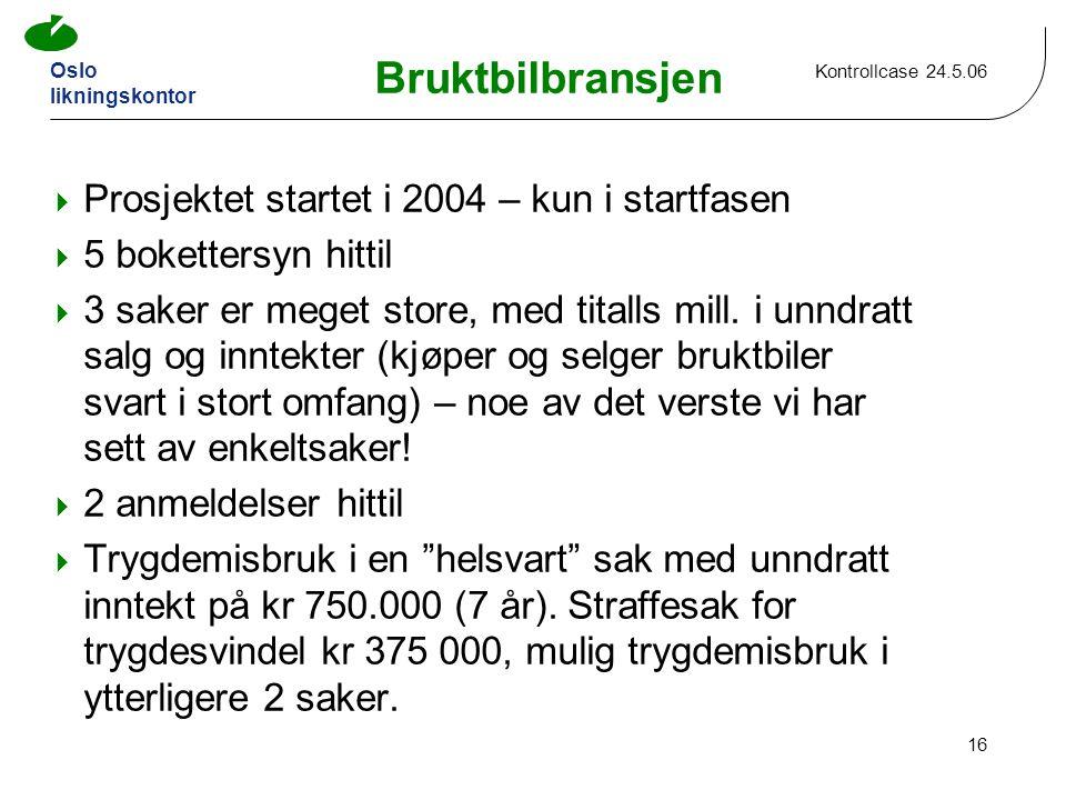 Oslo likningskontor Kontrollcase 24.5.06 16 Bruktbilbransjen  Prosjektet startet i 2004 – kun i startfasen  5 bokettersyn hittil  3 saker er meget store, med titalls mill.