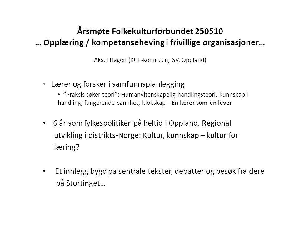 Årsmøte Folkekulturforbundet 250510 … Opplæring / kompetanseheving i frivillige organisasjoner… Aksel Hagen (KUF-komiteen, SV, Oppland) • Lærer og for