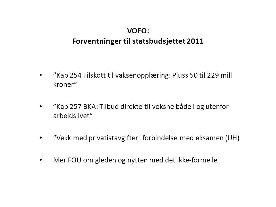 """VOFO: Forventninger til statsbudsjettet 2011 • """"Kap 254 Tilskott til vaksenopplæring: Pluss 50 til 229 mill kroner"""" • """"Kap 257 BKA: Tilbud direkte til"""