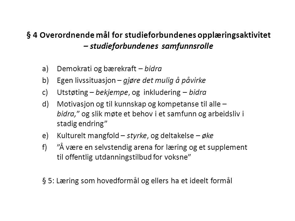 § 4 Overordnende mål for studieforbundenes opplæringsaktivitet – studieforbundenes samfunnsrolle a)Demokrati og bærekraft – bidra b)Egen livssituasjon
