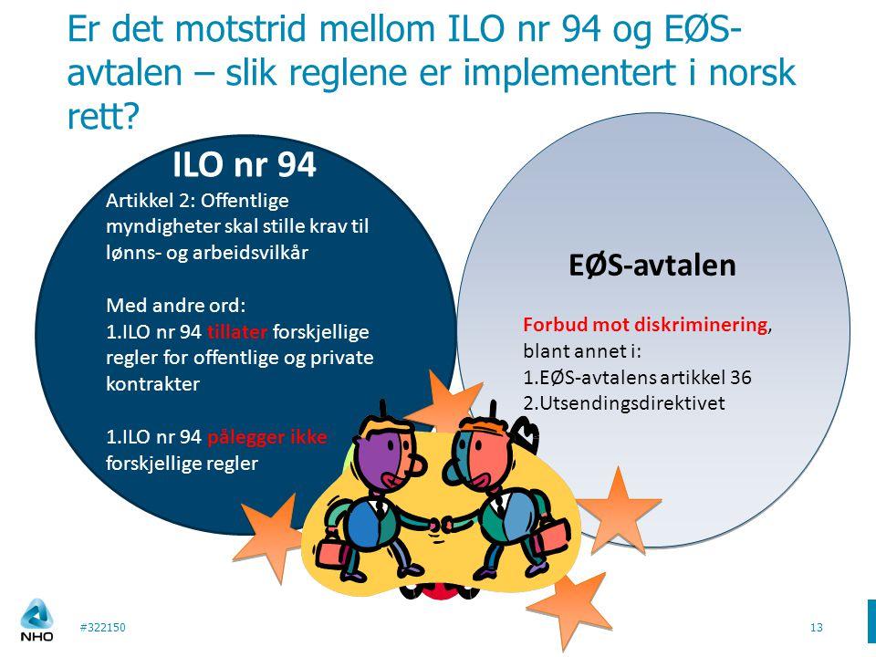 Er det motstrid mellom ILO nr 94 og EØS- avtalen – slik reglene er implementert i norsk rett? #32215013 ILO nr 94 Artikkel 2: Offentlige myndigheter s