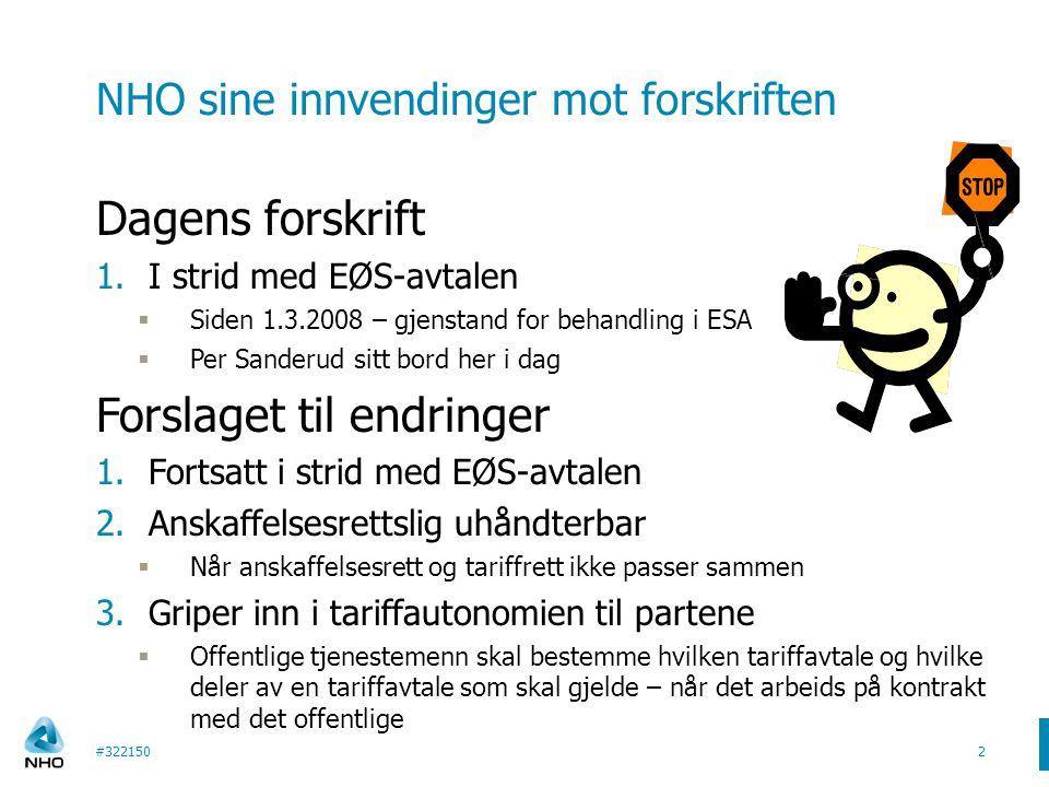 NHO sine innvendinger mot forskriften Dagens forskrift 1.I strid med EØS-avtalen  Siden 1.3.2008 – gjenstand for behandling i ESA  Per Sanderud sitt