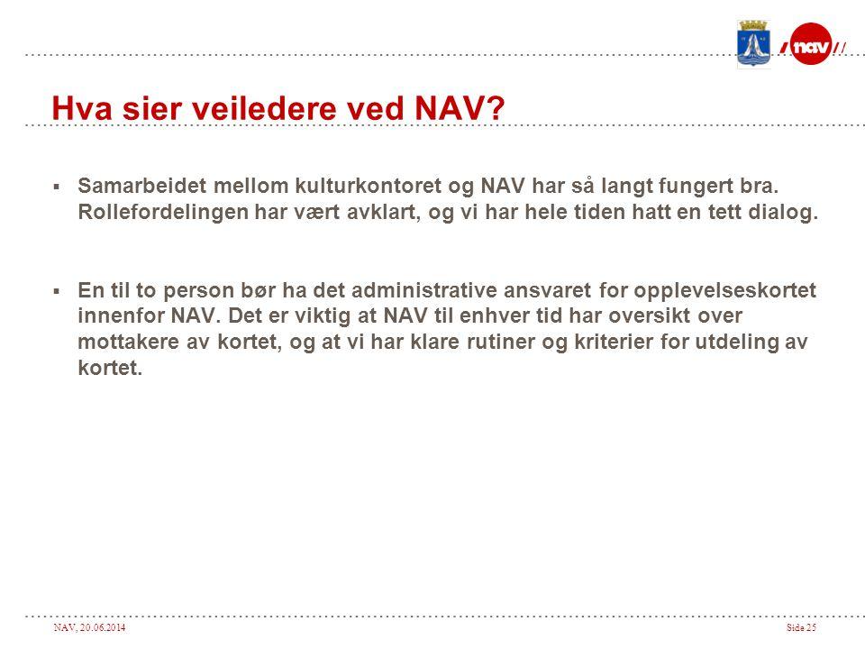 NAV, 20.06.2014Side 25 Hva sier veiledere ved NAV.