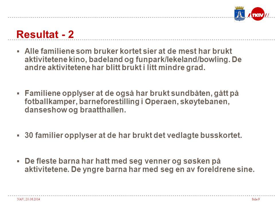 NAV, 20.06.2014Side 9 Resultat - 2  Alle familiene som bruker kortet sier at de mest har brukt aktivitetene kino, badeland og funpark/lekeland/bowling.
