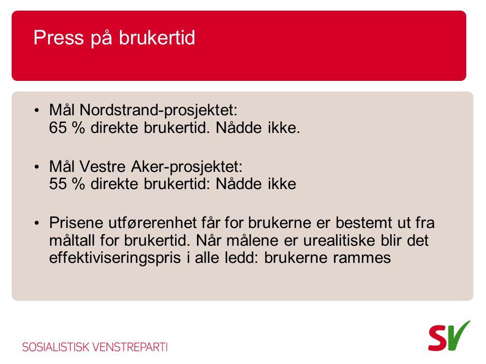 Press på brukertid • Mål Nordstrand-prosjektet: 65 % direkte brukertid. Nådde ikke. • Mål Vestre Aker-prosjektet: 55 % direkte brukertid: Nådde ikke •