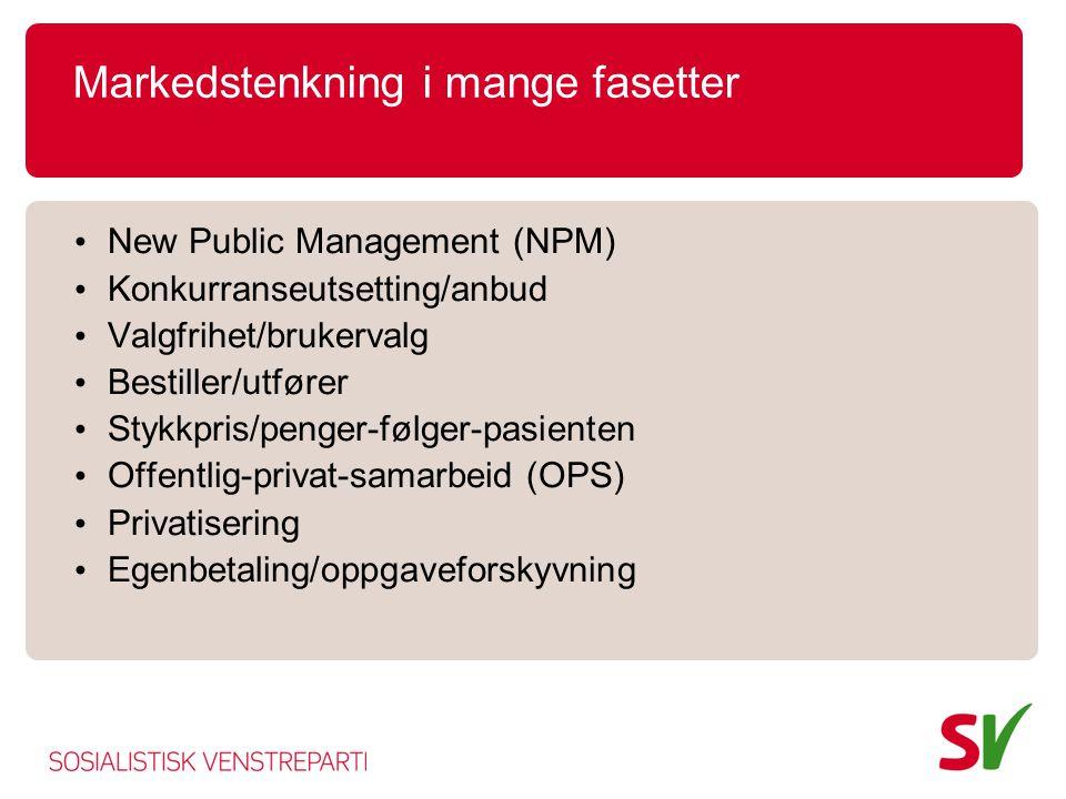 Markedstenkning i mange fasetter • New Public Management (NPM) • Konkurranseutsetting/anbud • Valgfrihet/brukervalg • Bestiller/utfører • Stykkpris/pe