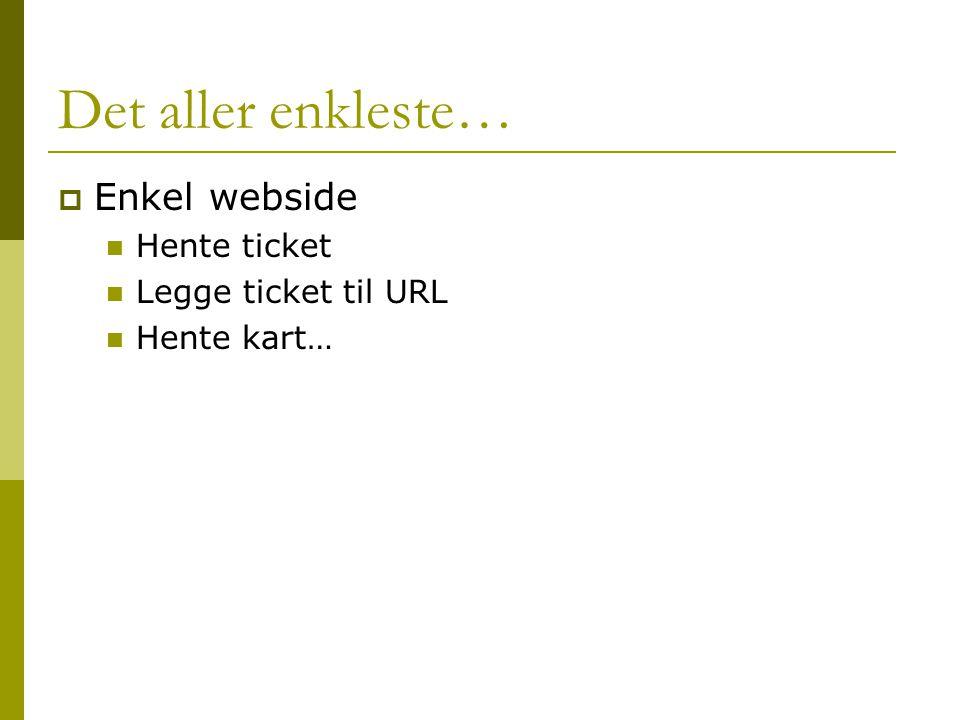 Det aller enkleste…  Enkel webside  Hente ticket  Legge ticket til URL  Hente kart…
