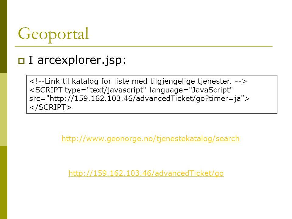 Geoportal  I arcexplorer.jsp: http://159.162.103.46/advancedTicket/go http://www.geonorge.no/tjenestekatalog/search