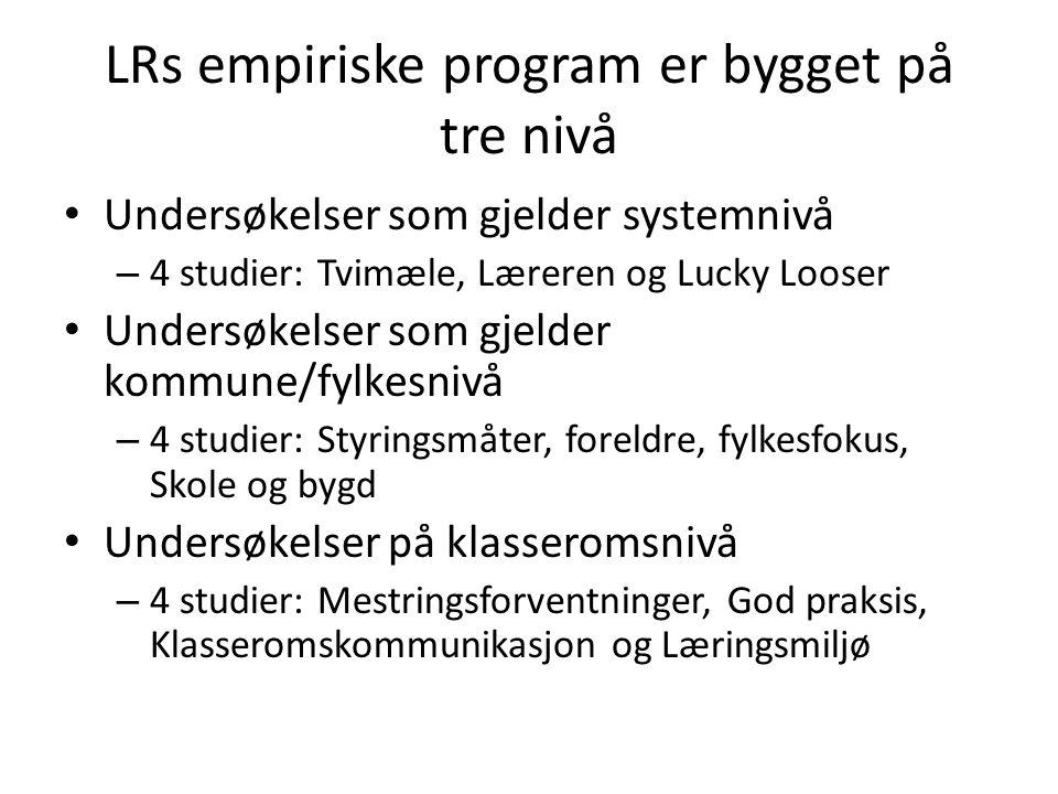 LRs empiriske program er bygget på tre nivå • Undersøkelser som gjelder systemnivå – 4 studier: Tvimæle, Læreren og Lucky Looser • Undersøkelser som g
