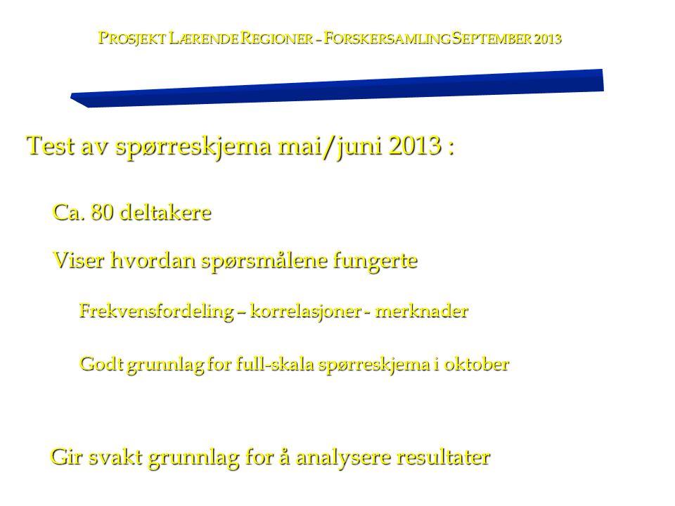 Test av spørreskjema mai/juni 2013 : P ROSJEKT L ÆRENDE R EGIONER – F ORSKERSAMLING S EPTEMBER 2013 Ca. 80 deltakere Viser hvordan spørsmålene fungert