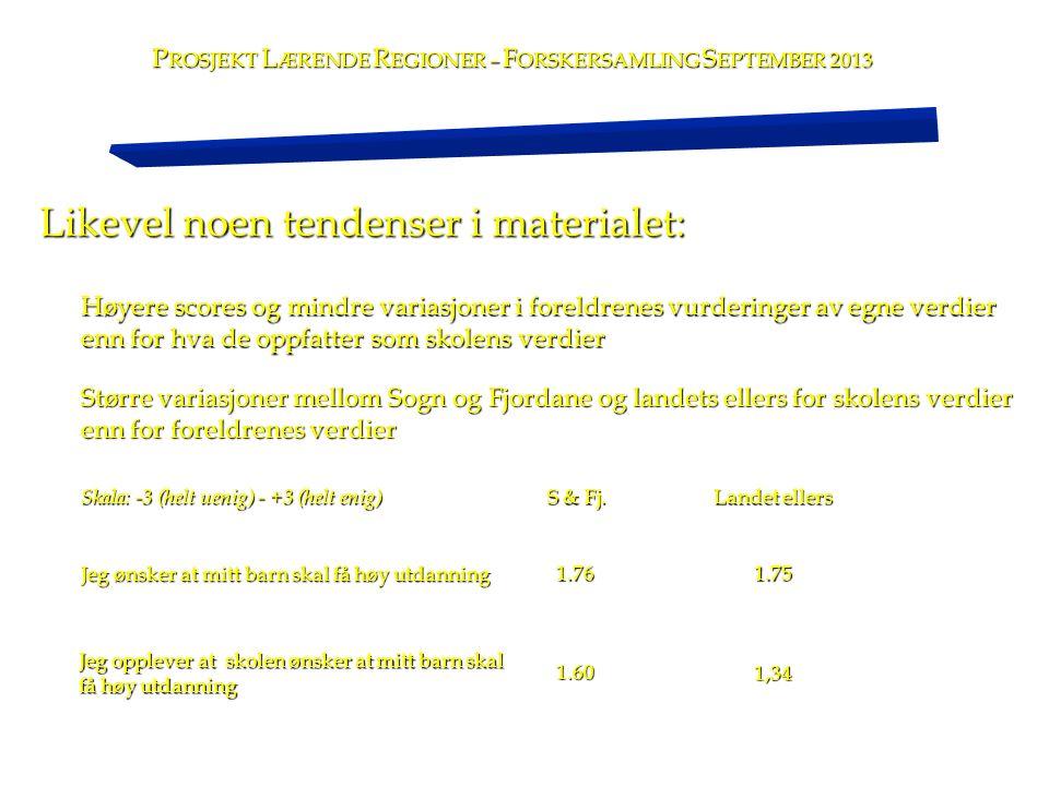 Likevel noen tendenser i materialet: P ROSJEKT L ÆRENDE R EGIONER – F ORSKERSAMLING S EPTEMBER 2013 Høyere scores og mindre variasjoner i foreldrenes