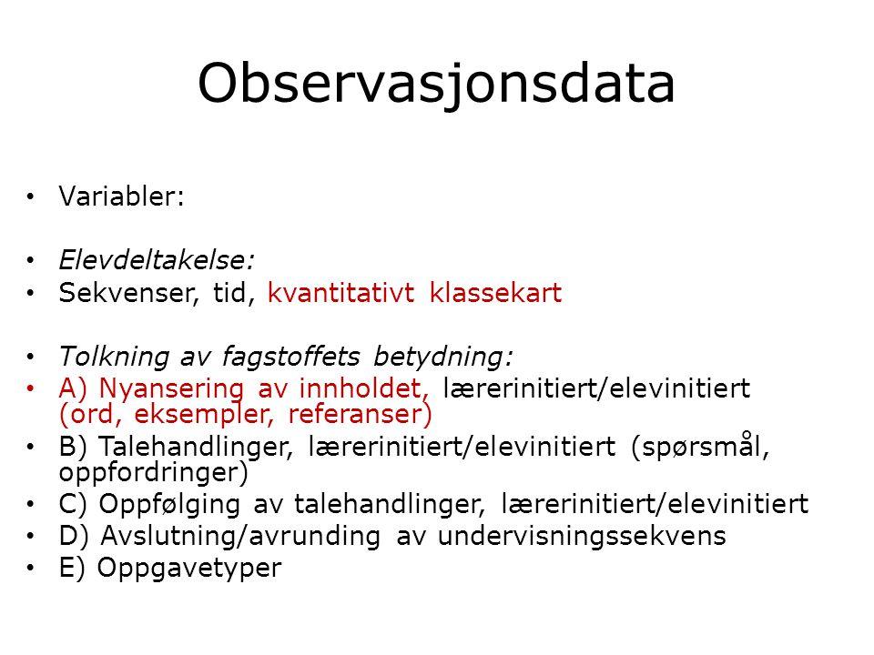 Observasjonsdata • Variabler: • Elevdeltakelse: • Sekvenser, tid, kvantitativt klassekart • Tolkning av fagstoffets betydning: • A) Nyansering av innh