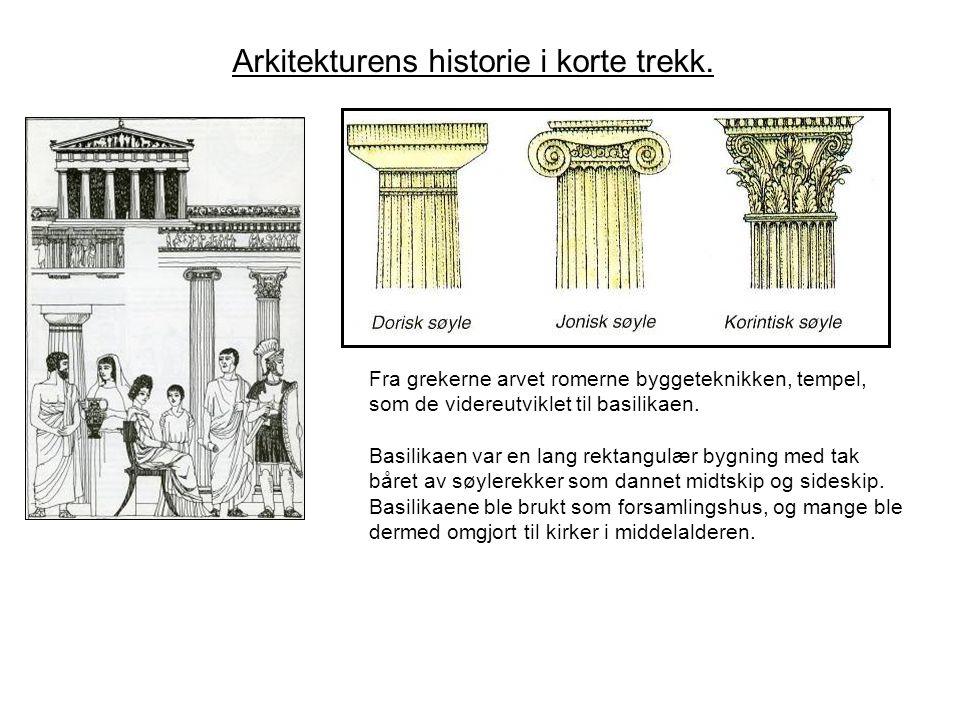Fra grekerne arvet romerne byggeteknikken, tempel, som de videreutviklet til basilikaen. Basilikaen var en lang rektangulær bygning med tak båret av s
