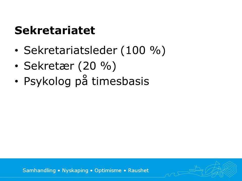 Samhandling • Nyskaping • Optimisme • Raushet Sekretariatet • Sekretariatsleder (100 %) • Sekretær (20 %) • Psykolog på timesbasis
