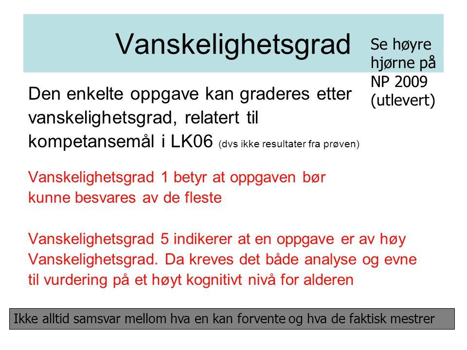 Vanskelighetsgrad Den enkelte oppgave kan graderes etter vanskelighetsgrad, relatert til kompetansemål i LK06 (dvs ikke resultater fra prøven) Vanskel