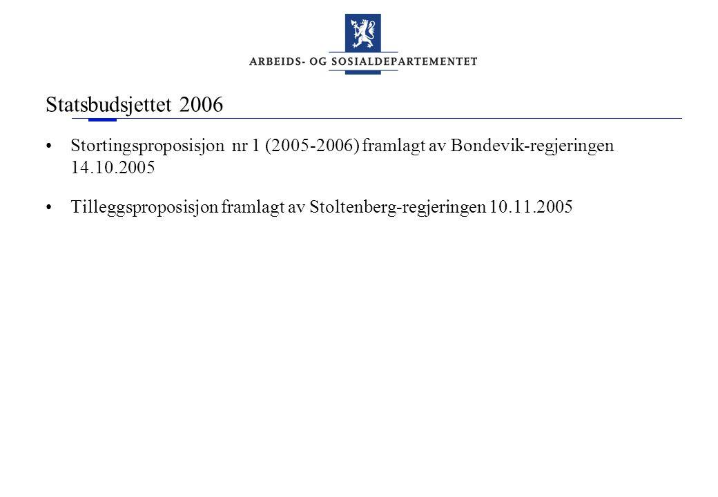 Statsbudsjettet 2006 •Stortingsproposisjon nr 1 (2005-2006) framlagt av Bondevik-regjeringen 14.10.2005 •Tilleggsproposisjon framlagt av Stoltenberg-r