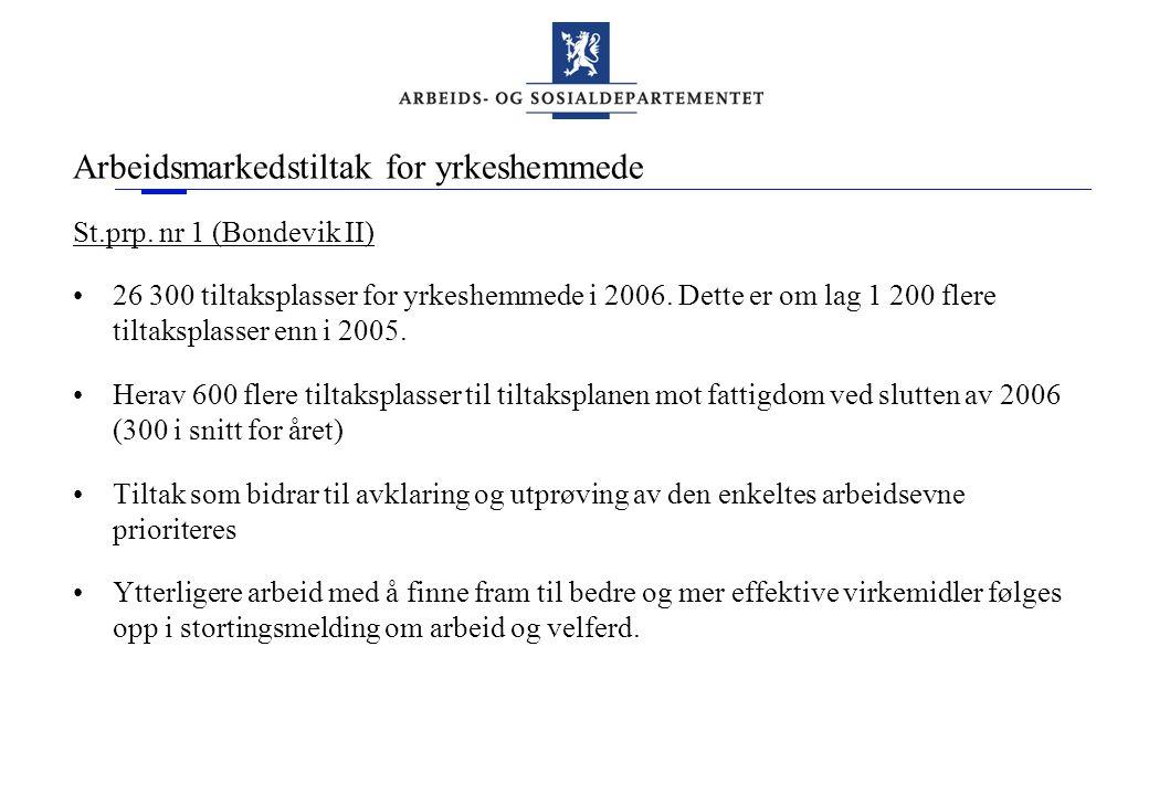 Arbeidsmarkedstiltak for yrkeshemmede St.prp. nr 1 (Bondevik II) •26 300 tiltaksplasser for yrkeshemmede i 2006. Dette er om lag 1 200 flere tiltakspl
