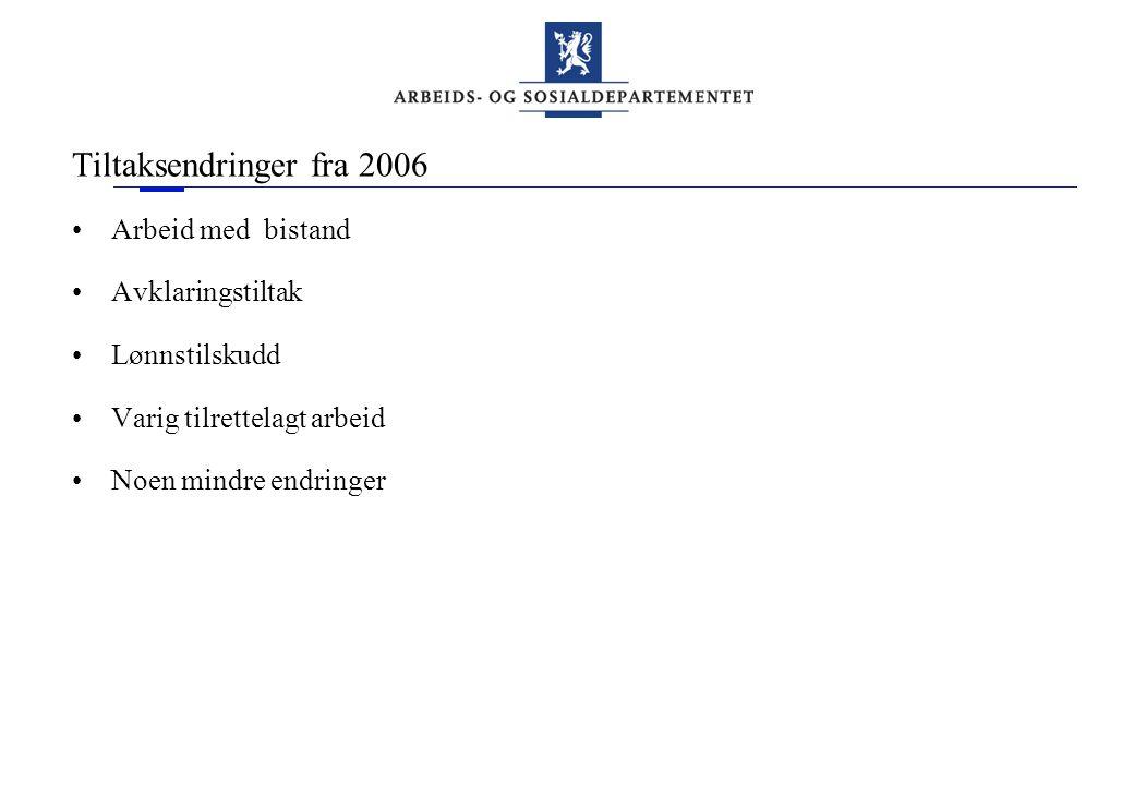 Tiltaksendringer fra 2006 •Arbeid med bistand •Avklaringstiltak •Lønnstilskudd •Varig tilrettelagt arbeid •Noen mindre endringer