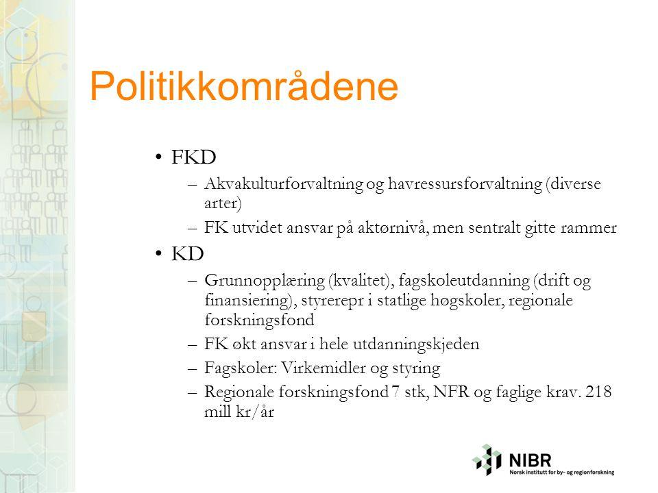 Politikkområdene •FKD –Akvakulturforvaltning og havressursforvaltning (diverse arter) –FK utvidet ansvar på aktørnivå, men sentralt gitte rammer •KD –