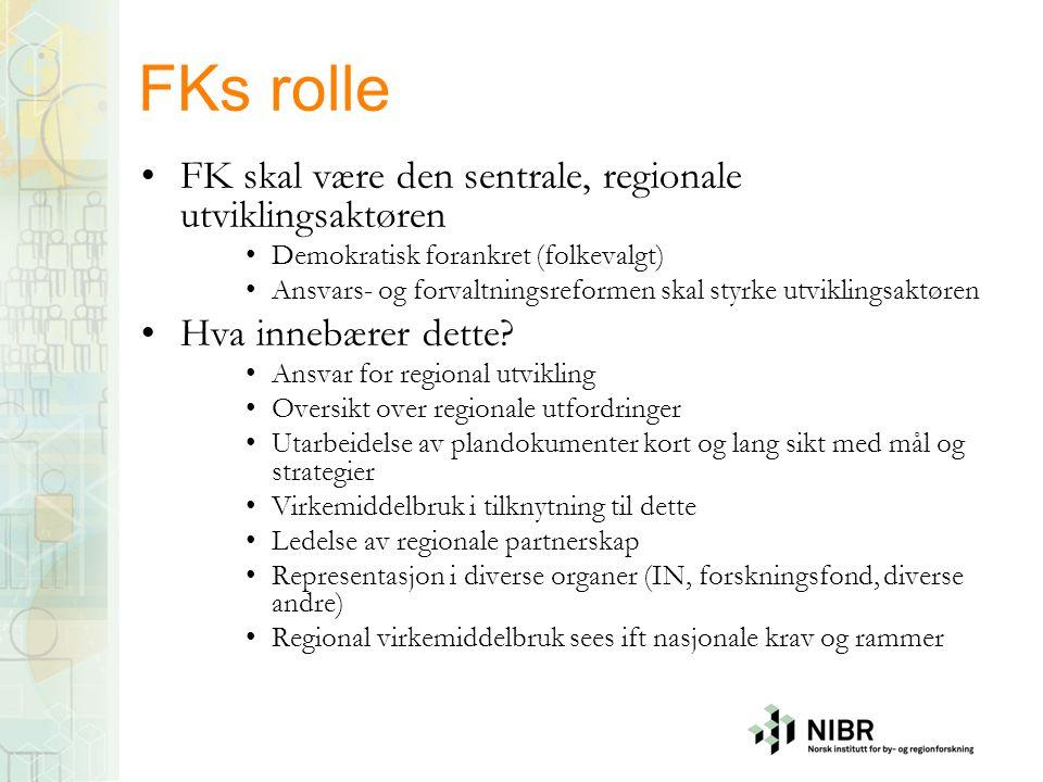 FKs rolle •FK skal være den sentrale, regionale utviklingsaktøren •Demokratisk forankret (folkevalgt) •Ansvars- og forvaltningsreformen skal styrke ut