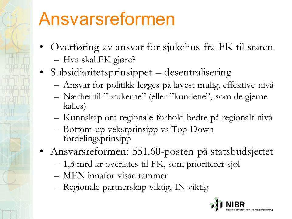 Ansvarsreformen •Overføring av ansvar for sjukehus fra FK til staten –Hva skal FK gjøre.