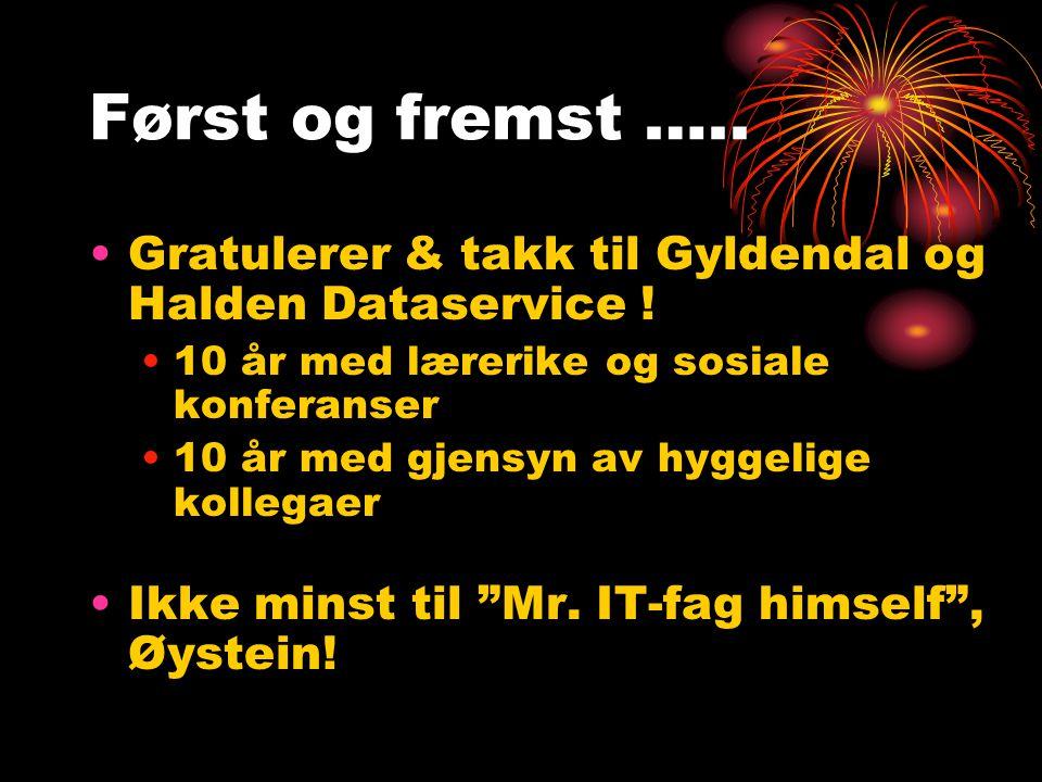 Først og fremst ….. •Gratulerer & takk til Gyldendal og Halden Dataservice ! •10 år med lærerike og sosiale konferanser •10 år med gjensyn av hyggelig