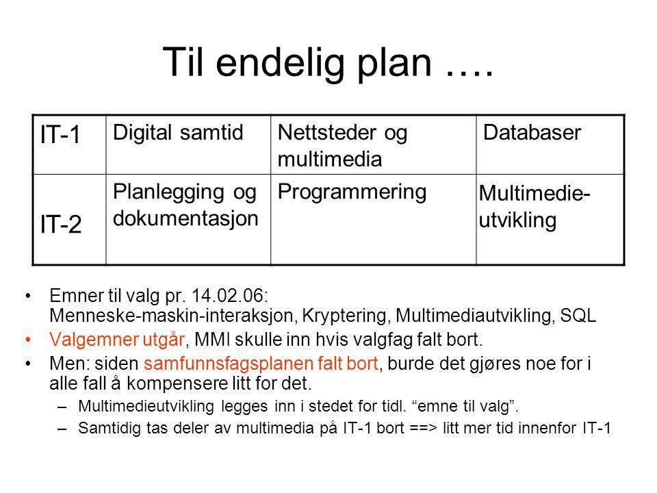 Til endelig plan …. IT-1 Digital samtidNettsteder og multimedia Databaser IT-2 Planlegging og dokumentasjon ProgrammeringEmne til valg •Emner til valg
